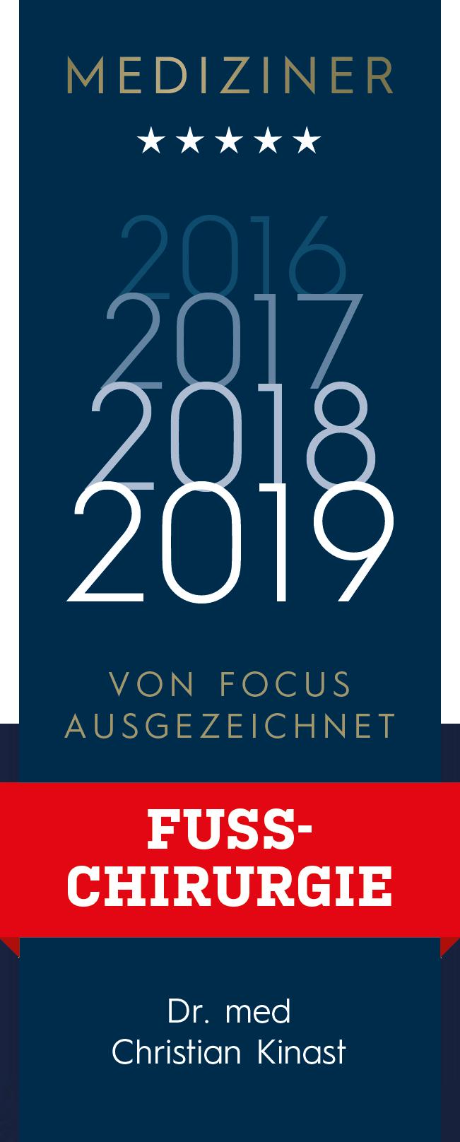 Dr. med. Christian Kinast - Top Mediziner Fußchirurgie 2016, 2017, 2018 - Focus Ärzteliste